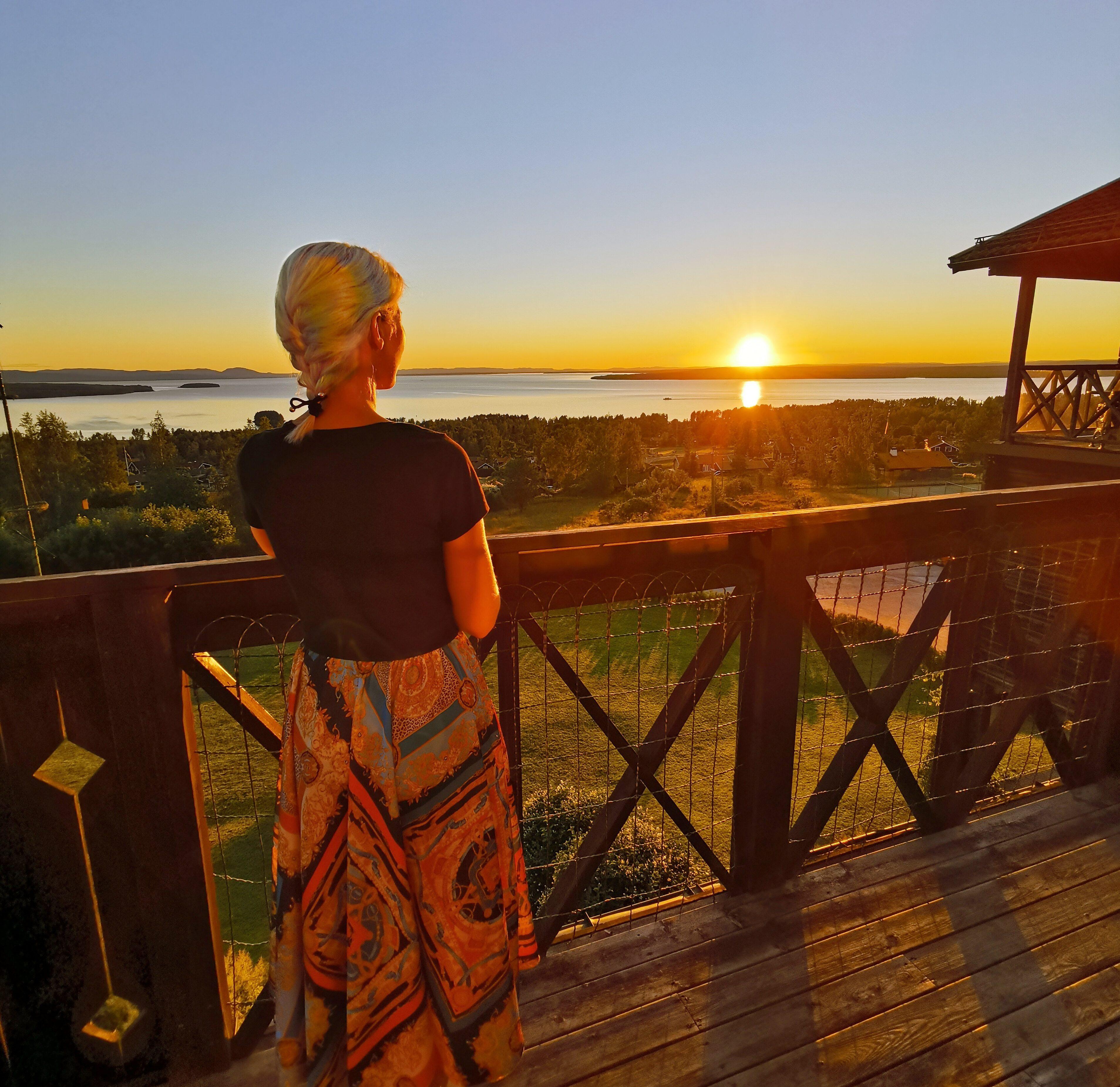 Vacker solnedgång från Green Hotel i Dalarna Sverige