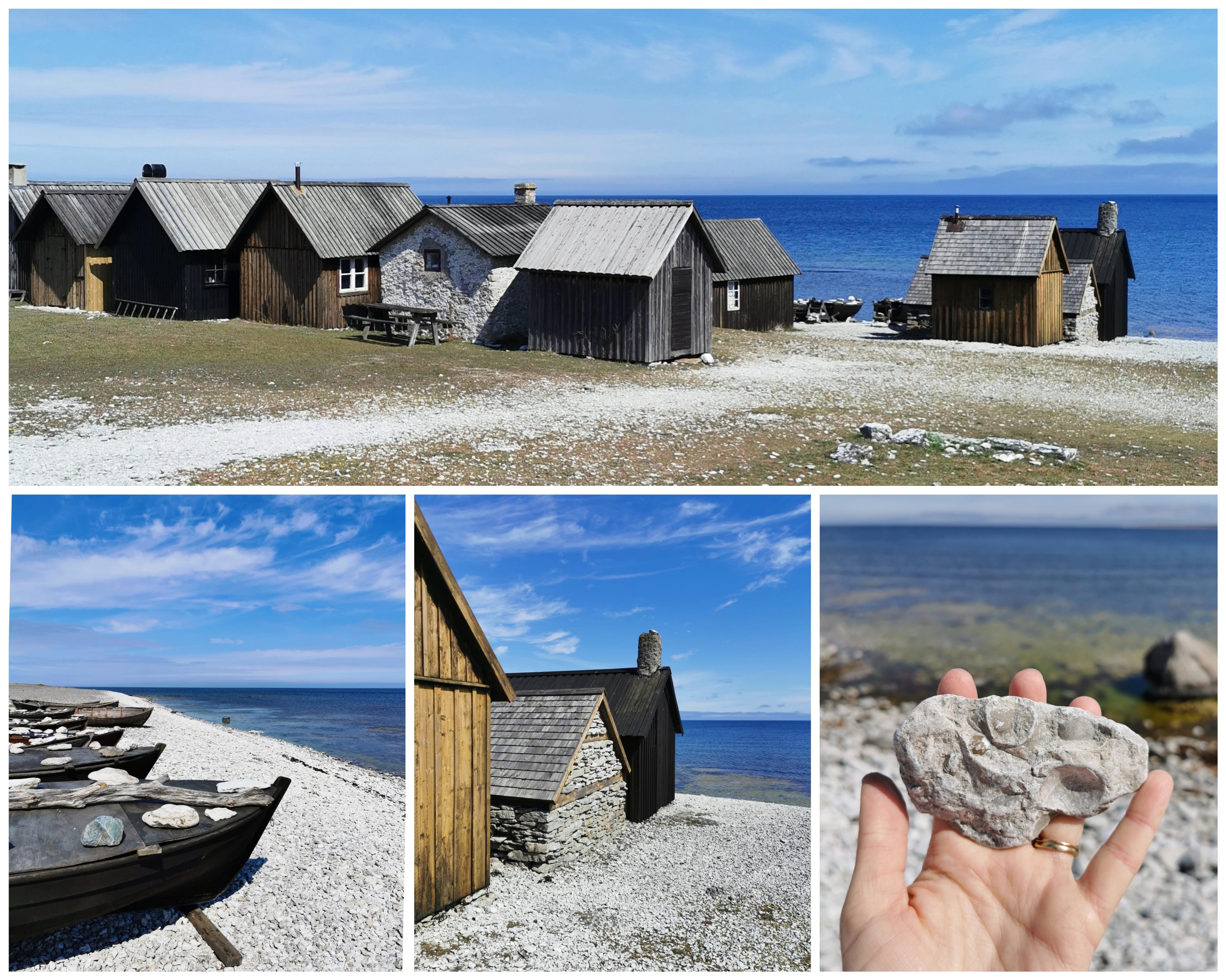 Helgumannens fiskeläge sjöbodar och träbåtar